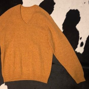 Mustard yellow mohair/wool blend sweater, Med-LG
